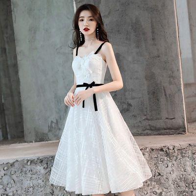 白色小晚礼服裙女2020新款宴会高贵生日派对小个子吊带成人礼名媛