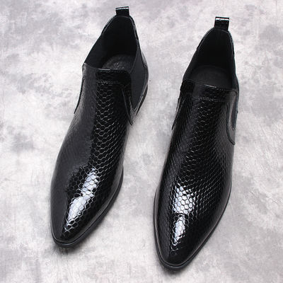 意大利蛇纹男鞋漆皮男士高帮鞋马丁靴男真皮潮流短靴切尔西靴男靴