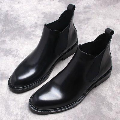 秋冬新款牛皮切尔西靴套筒皮靴男商务休闲短靴高帮鞋英伦真皮皮鞋