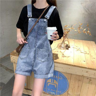 2020背带裤女夏潮流小个子宽松大码韩版牛仔短裤学生可爱吊带裤