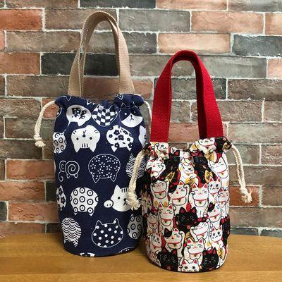 日式抽绳饭盒袋圆形束口手提袋学生便当包焖烧壶水杯袋圆手拎包袋