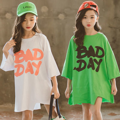 女童短袖t恤夏季洋气纯棉新款中大童长款韩版宽松儿童半袖小女孩