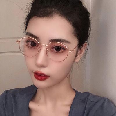 防蓝光辐射近视眼镜女复古韩版潮多边形有度数电脑护眼睛平光镜男