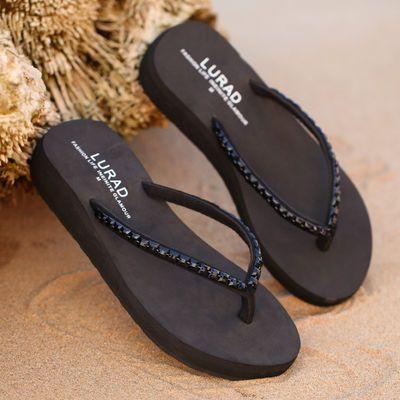 路拉迪中跟水砖人字拖 坡跟夹脚厚底凉拖鞋女士防滑耐磨沙滩拖鞋