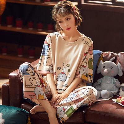 纯棉睡衣女夏短袖套装学生卡通可爱韩版宽松家居服女春秋季可外穿