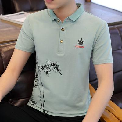 2020新款夏季男士短袖t恤韩版立领polo衫半袖体恤衬衫领青年上衣