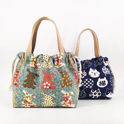 75550/抽绳束口饭盒袋卡通手提袋加厚耐磨帆布手拎袋装饭包便捷收纳包袋
