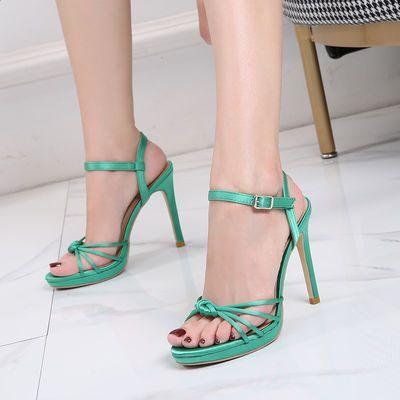 细跟高跟凉鞋露趾打结一字带2020夏新款百搭性感聚会女鞋仙女风