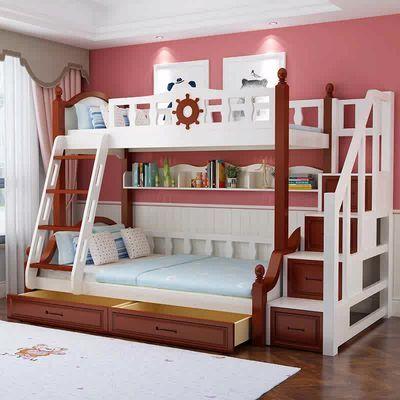全实木高低床上下床双层床多功能彩漆双人儿童床上下铺木床子母床