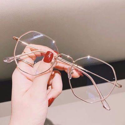 韩版潮学生防辐射近视眼镜框网红同款女复古防蓝光平光镜男多边形