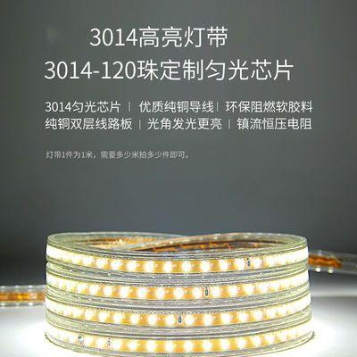 led灯带三色变光220v家用客厅暖光灯带线RGB七彩户外防水led灯条