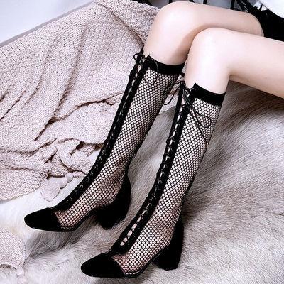 网红长筒靴女瘦瘦凉靴子中跟粗跟短靴女春秋夏季高跟鞋新款女鞋潮