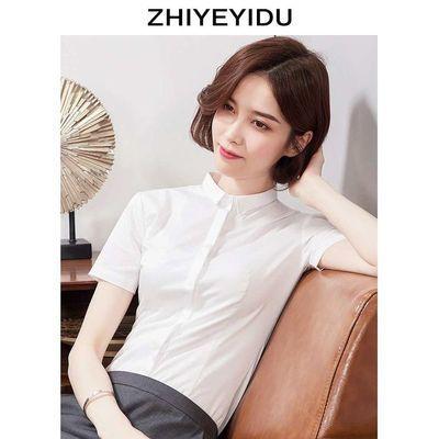 2019夏季短袖衬衫女韩版收腰工装上衣职业女装白色衬衣工作服修身
