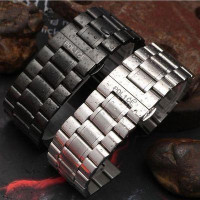 POLICE不锈钢表带 男女黑色精钢手表链钢带26/28/30MM七个星期五