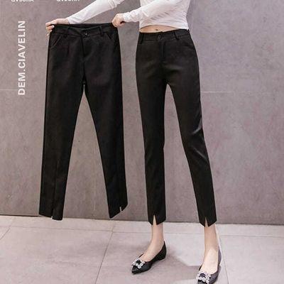春夏九分西装小脚裤女矮个子2020新款直筒高腰显瘦OL黑色长裤职业