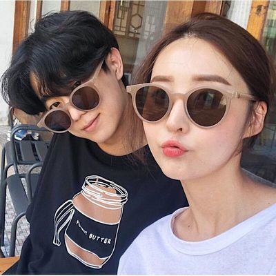 韩版时尚阿沁林小宅网红太阳镜女防止外线墨镜圆脸复古原宿风眼镜