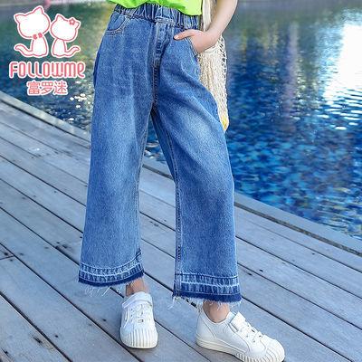 富罗迷女童牛仔裤儿童裤2020新款春季条纹纯棉洋气韩版休闲外穿束