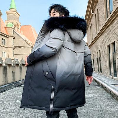 富贵鸟棉衣男中长款韩版冬季外套男装潮流棉袄加厚渐变色羽绒棉服