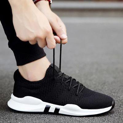 男士运动鞋防滑透气休闲跑步鞋网面小白鞋韩版网红潮鞋黑色旅游鞋
