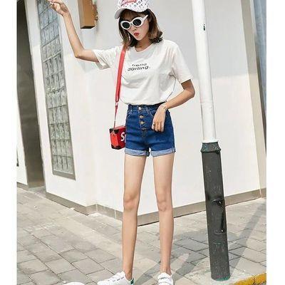 2020夏季新款牛仔短裤女韩版装弹力薄高腰显瘦显瘦翻边简约百搭热