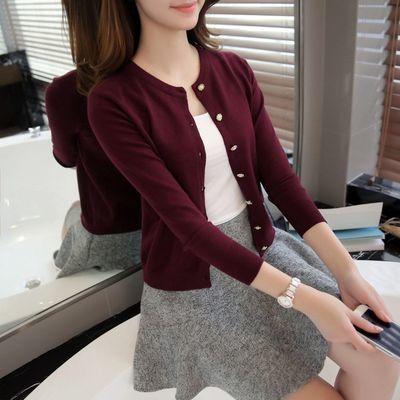 针织衫开衫女春秋外搭韩版修身圆领护士空调衫短款百搭毛衣小外套