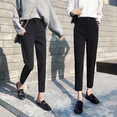 西装裤女夏薄款2019新款韩版高腰直筒烟管裤黑色小脚九分休闲西裤