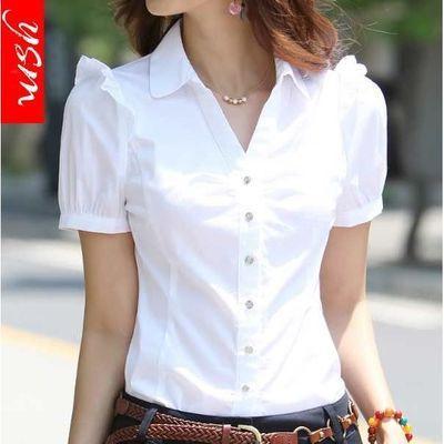 夏季V领职业女装正装短袖衬衫工装女韩版白领工作服白衬衣女纯色