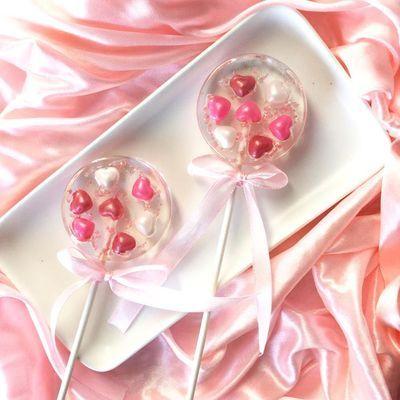 高颜值INS网红零食珠光爱心棒棒糖可爱创意喜糖礼物伴手礼写贺卡