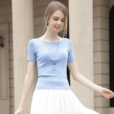 2020夏季新款冰丝短袖针织衫女t恤纯色修身一字领上衣女打底衫 薄