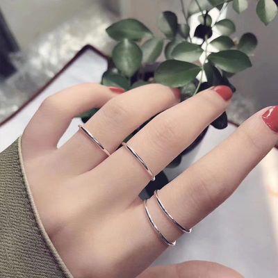 纯银三生三世指环素圈戒指女时尚个性网红复古冷淡风简约款学生