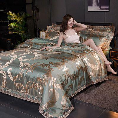 欧式蕾丝花边提花四件套1.8m2.0米婚庆贡缎床单被套双人床上用品