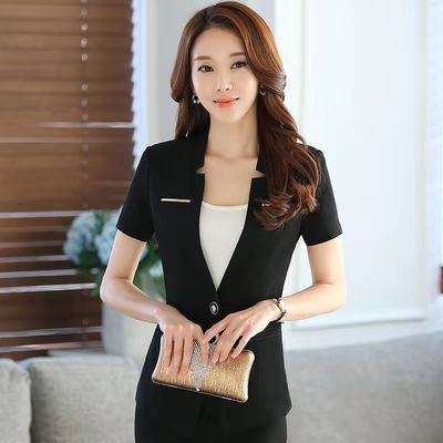 新款纯色夏季职业装套装女短袖西装时尚酒店美容院工作服修身套裙