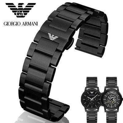 阿玛尼钢带手表带男士原装AR60008/5905/5981/2433黑色金属钢表链