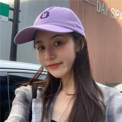 日系ins紫色软妹鸭舌帽子女夏天百搭学生可爱卡通图案韩版棒球帽