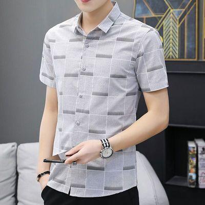 男士格子商务休闲衬衣夏季薄款男式短袖印花衣服帅气上衣衬衫男