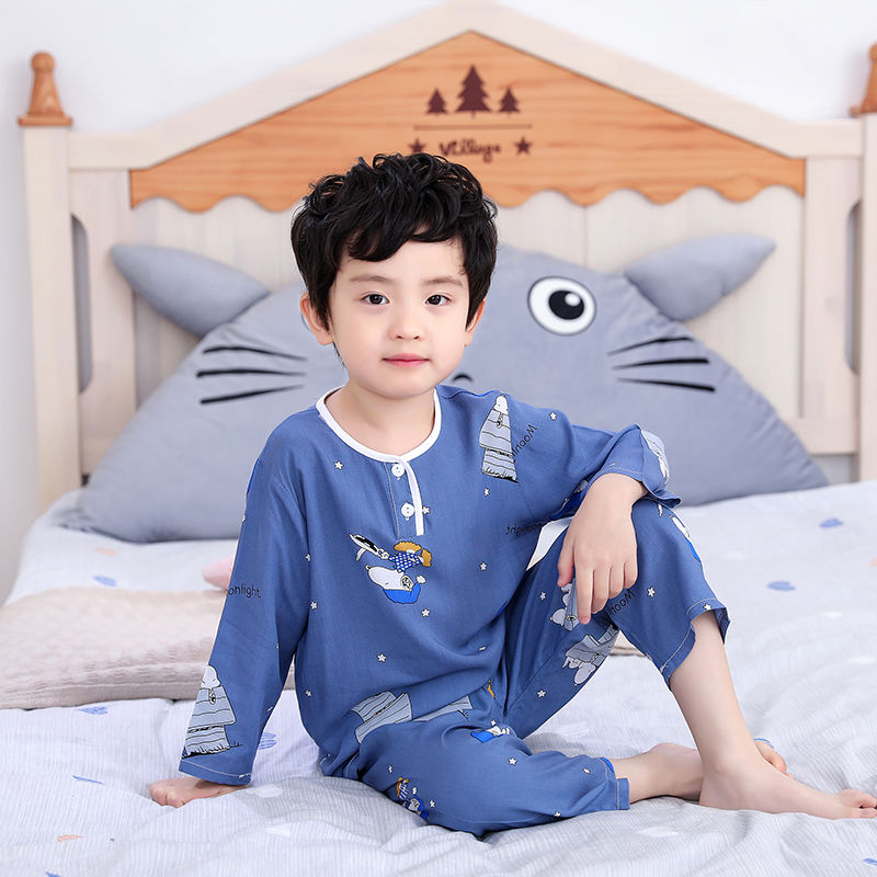 夏季儿童棉绸睡衣宝宝男童绵绸小孩长袖套装男孩女童薄空调家居服