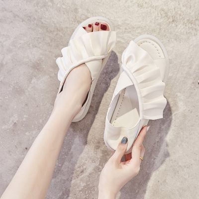 凉鞋女2020夏季新款时尚百搭ins潮温柔仙女风牛筋软底防滑孕妇鞋
