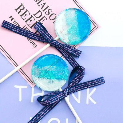 高颜值INS网红零食渐变蓝棒棒糖创意喜糖生日礼物伴手礼手工糖果