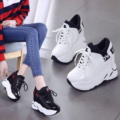 内增高女鞋2020春季新款小白鞋百搭厚底运动休闲鞋12cm超高跟单鞋
