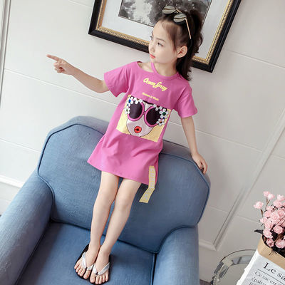 女童短袖t恤2020新款夏装中大童短袖上衣洋气儿童中长款打底衫潮