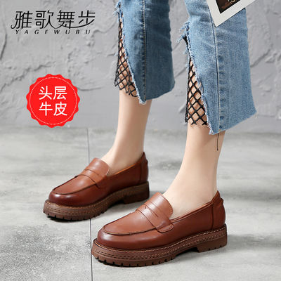 真皮女鞋春夏新款平底小皮鞋女英伦风头层牛皮复古时尚休闲单鞋女