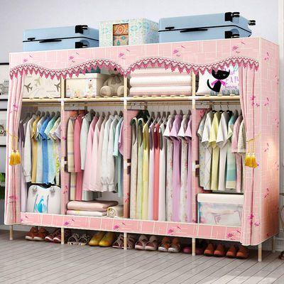 布衣柜简易衣柜实木牛津布收纳柜置物宿舍租房置物架加固双人衣橱