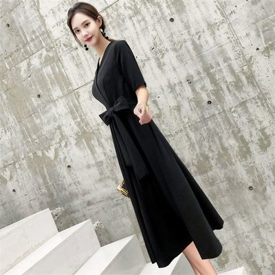 礼服女学生气质韩版宴会成人礼主持人黑色长款聚会派对礼服连衣裙
