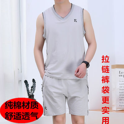 纯棉运动套装男夏季篮球服速干球衣比赛队服大码背心短裤健身服男