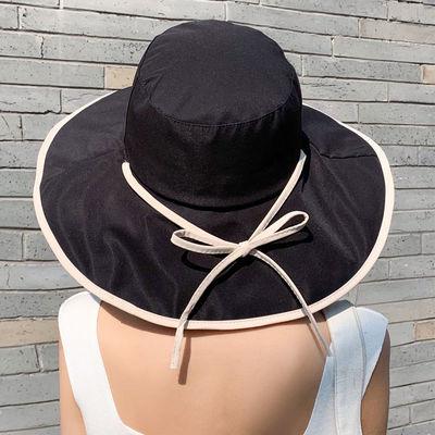 夏天帽子女韩版遮阳帽大帽檐防紫外线遮脸渔夫帽ins原宿风盆帽潮