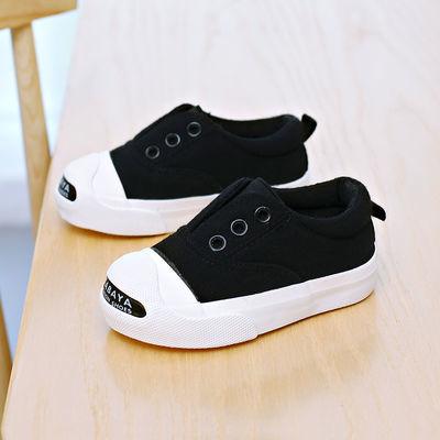 芭芭鸭儿童帆布鞋2019春秋男女童板鞋宝宝鞋子女童布鞋6119-6120