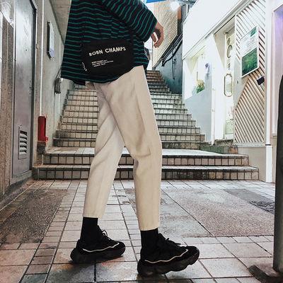 2020春夏季简约牛仔裤男休闲直筒裤韩版潮流修身ins小脚裤九分裤