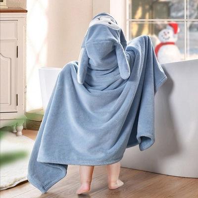 婴儿浴巾儿童斗篷带帽珊瑚绒比纯棉超柔新生幼儿宝宝洗澡浴袍吸水