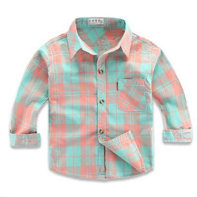 男童纯棉长袖衬衫薄款春秋儿童格子衬衣小童上衣宝宝打底婴儿外套
