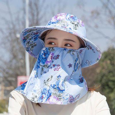 帽子女夏季干活遮阳帽防晒大檐韩版潮骑车女士帽子头大工地采茶帽